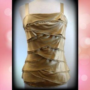 Cache Silk Tiered Metallic Gold Layered Sexy Top
